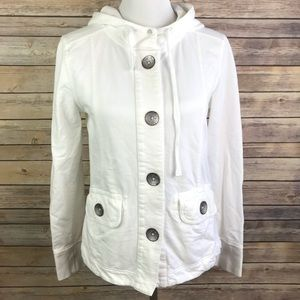 Prana Casual Button Down Knit Hooded Jacket